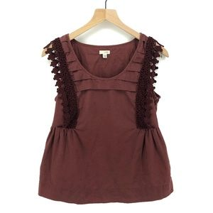 Anthro Odille Reddish Brown Linen Top - Size 8